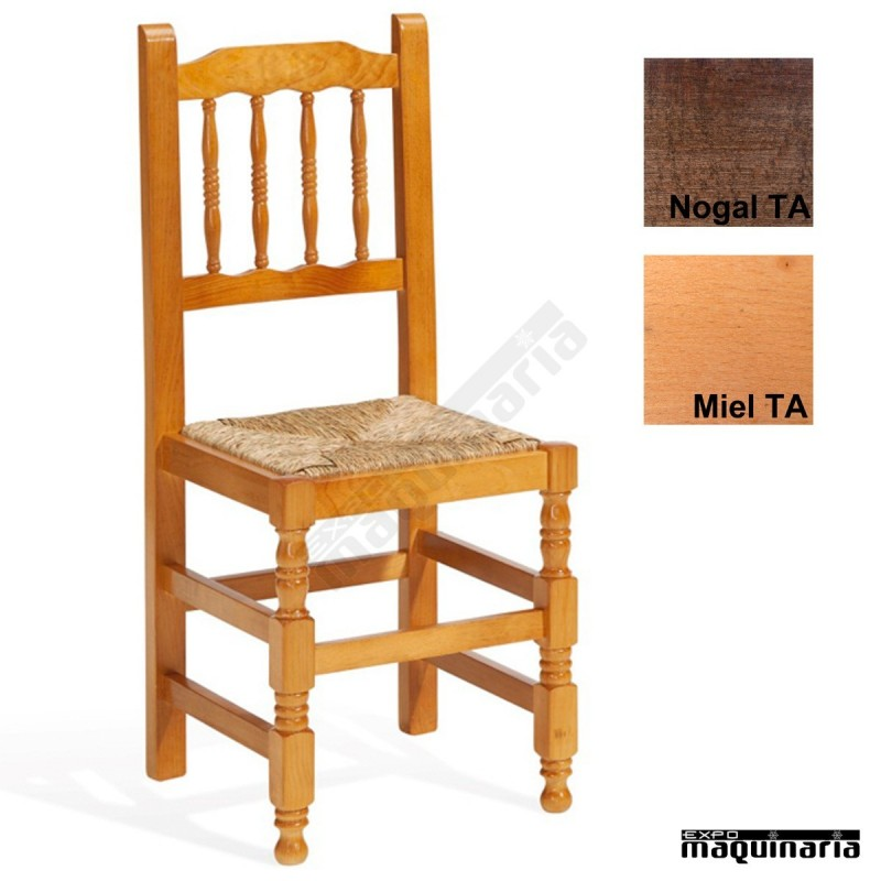 Silla bar madera eco 1t202 asiento anea de madera de pino for Sillas de madera para bar