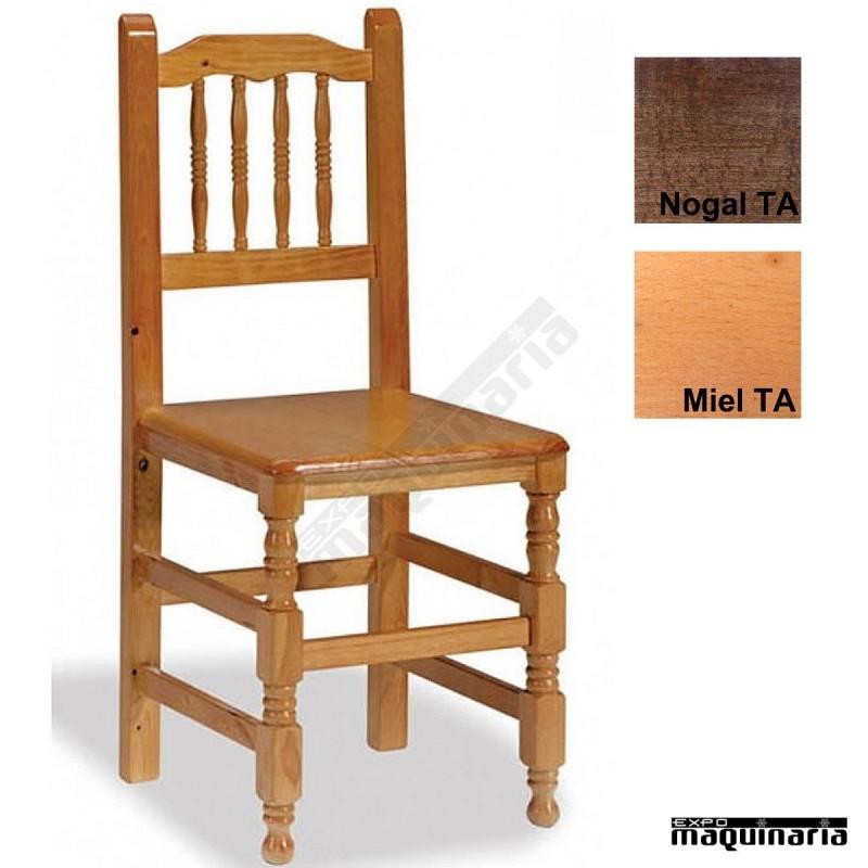 Silla madera para bar 1t202 asiento de madera de pino - Sillas de madera baratas ...