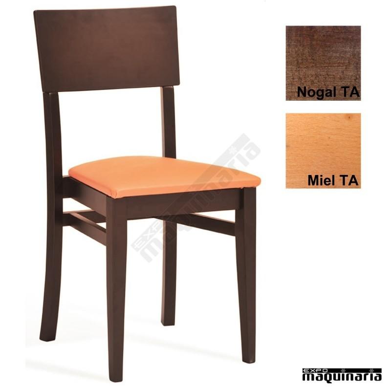 Silla madera asiento tapizado 1t222 barnizada con for Fabricantes sillas modernas