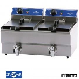 Freidora eléctrica 2 cubas fijas de 8.5 litros con grifo IRFRY13+13