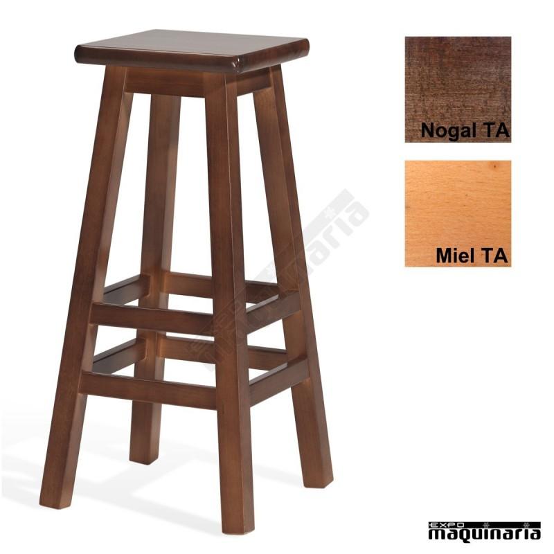 Taburete alto de madera 4t136 ta forma fabricado en madera - Taburete madera bar ...