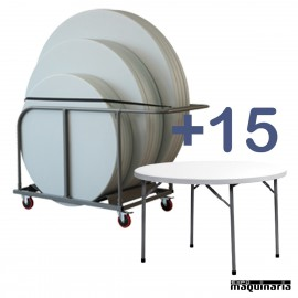 Conjunto de catering 15 mesas ZOplanet120 + 1 Carro de Transporte