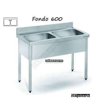Fregadero acero inox. con bastidor Dos Cubetas Fondo 600