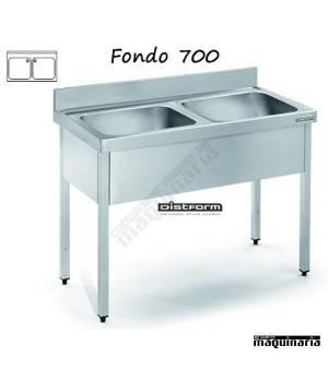 Fregadero acero inox. con bastidor Dos Cubetas Fondo 700