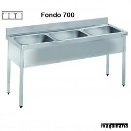 Fregadero acero inox. con bastidor Tres Cubetas Fondo 700
