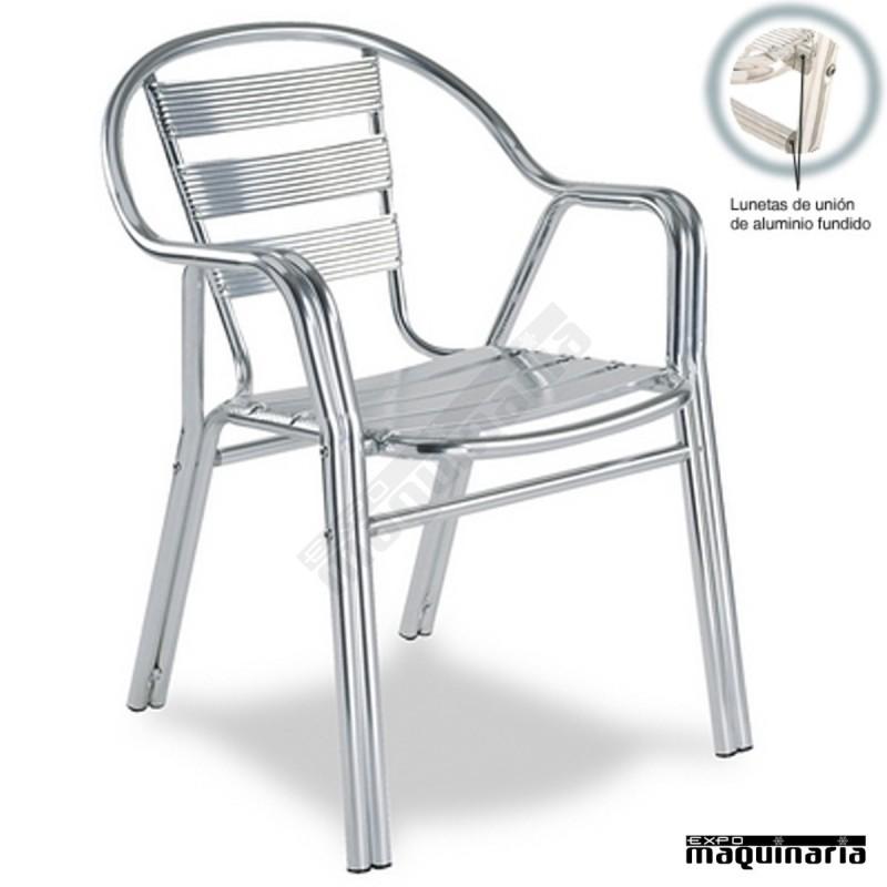 Silla aluminio terraza 2r94 apilable para exteriores de - Patas de aluminio para muebles ...