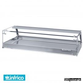 Vitrina expositora tapas frías 4 platos INVEB4CP cristal plano