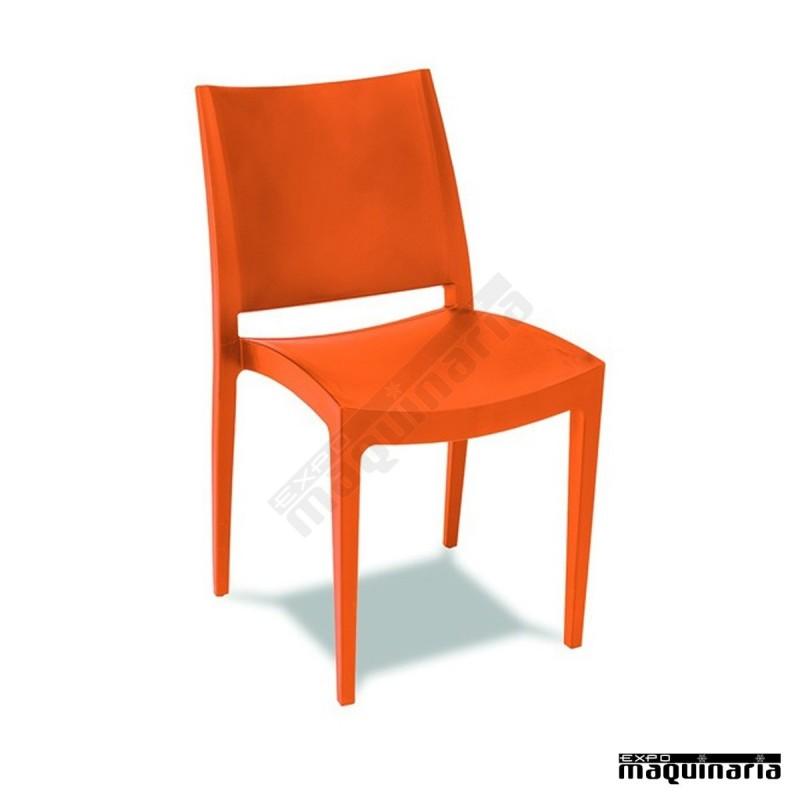 Silla resina hostelería 1R63 apilable color naranja