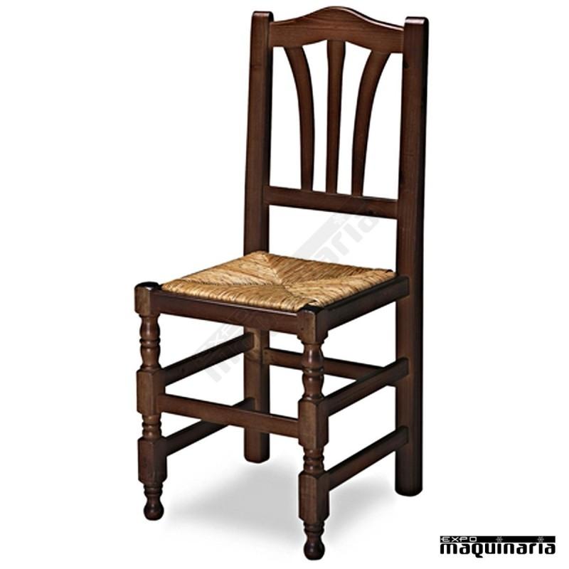 Silla madera 1r2e asiento de enea para hosteler a y bodega for Sillas de bar en madera
