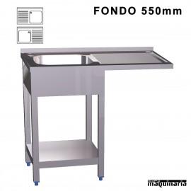 Fregadero industrial inox. con mueble, estante lavavajillas Fondo 500