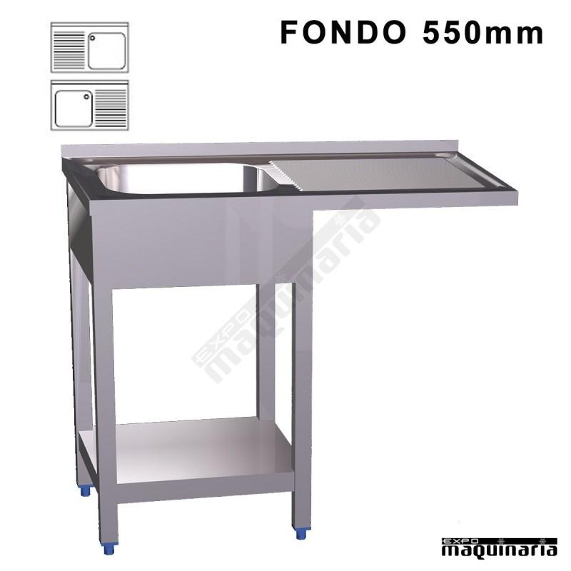 Fregadero industrial inox hueco lavavajillas fondo 550 for Medidas de lavavajillas