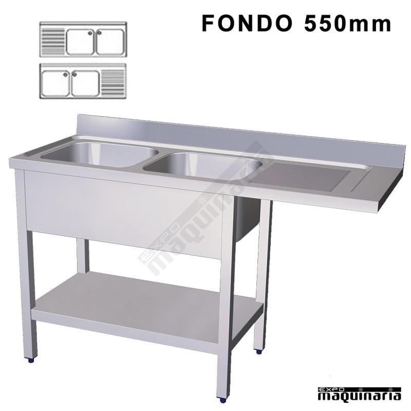 Fregadero industrial inox 2 pozas hueco lavavajillas fondo 550 for Pozas para cocina