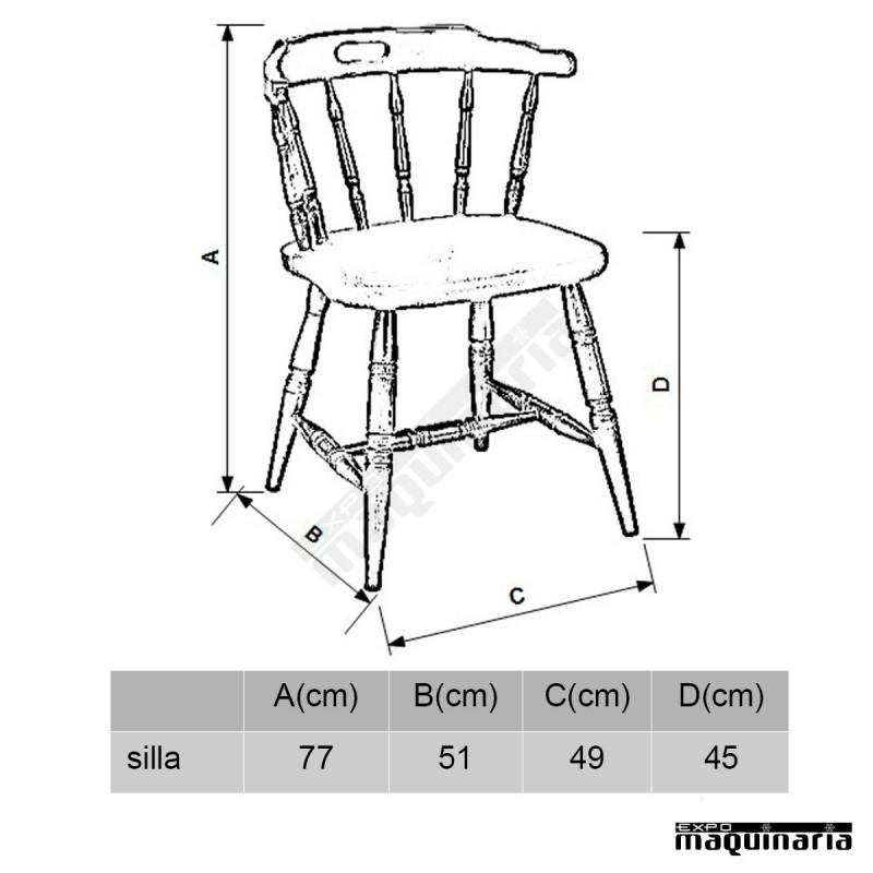 Silla madera 1r asiento tapizado para hosteler a for Medidas silla comedor