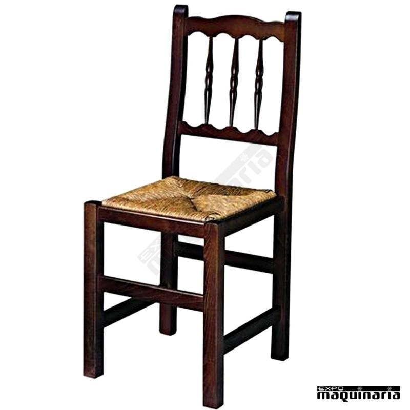 Silla madera 1r0e asiento enea de hosteleria for Sillas de madera para bar