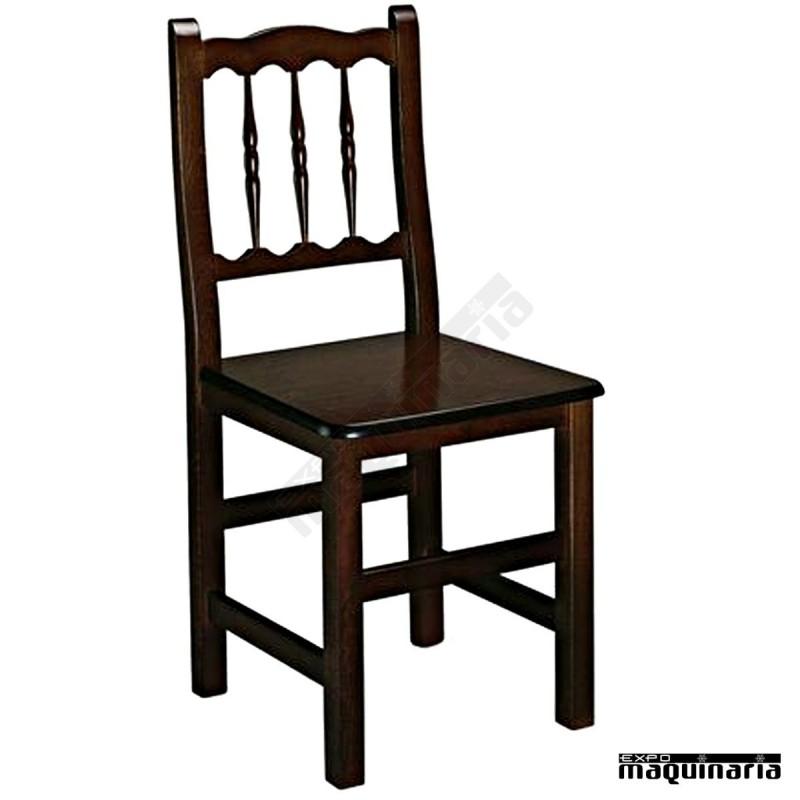 Silla madera 1r0m asiento madera de hosteleria for Sillas para oficina de madera