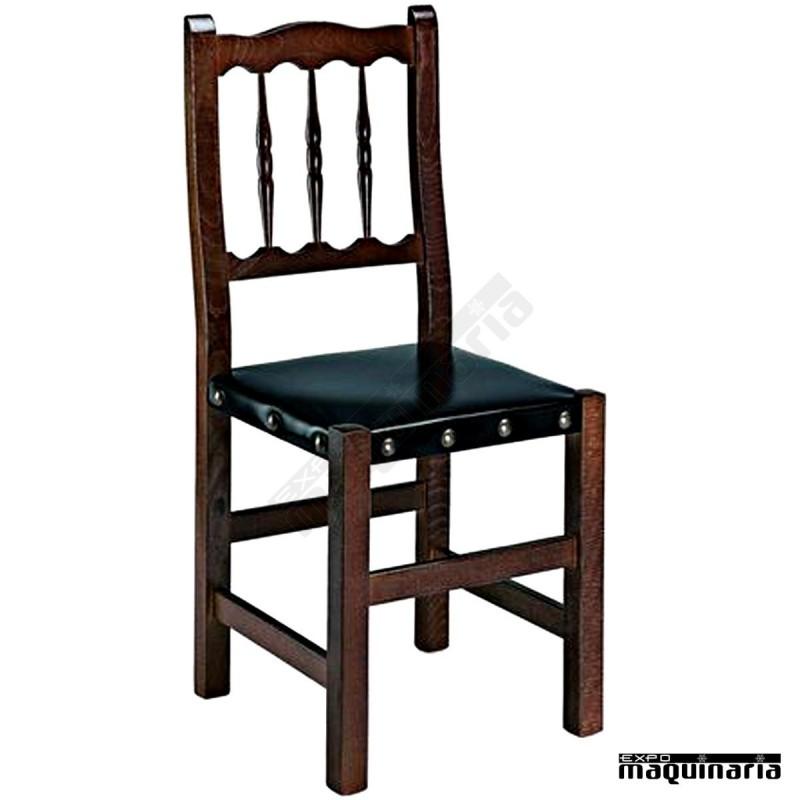 Silla madera 1r0c asiento cuero sint tico for Catalogo de sillas de madera