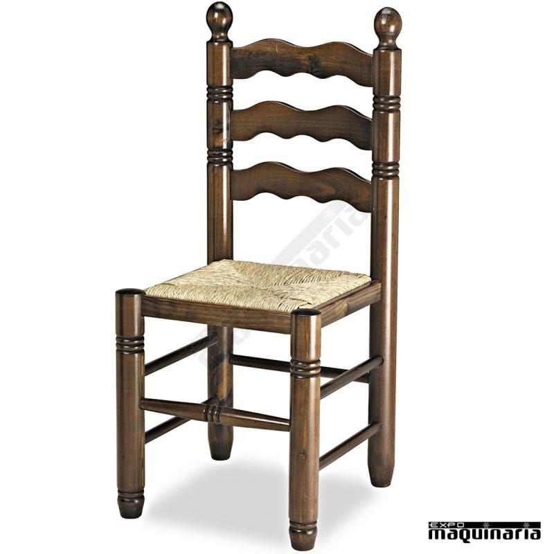 Silla madera de pino barnizada 1r4 torneada for Catalogo de sillas de madera