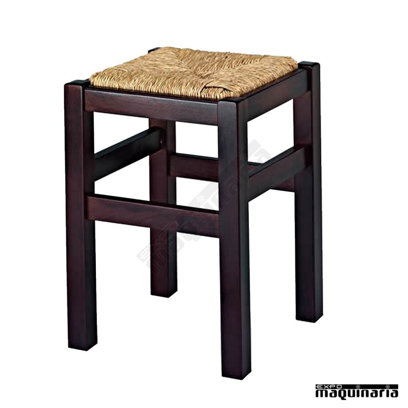 Taburete bajo bar madera asiento enea 1r9e for Taburete bar madera