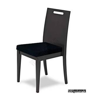Silla de madera de haya barnizada 3R6T asiento tapizado negro