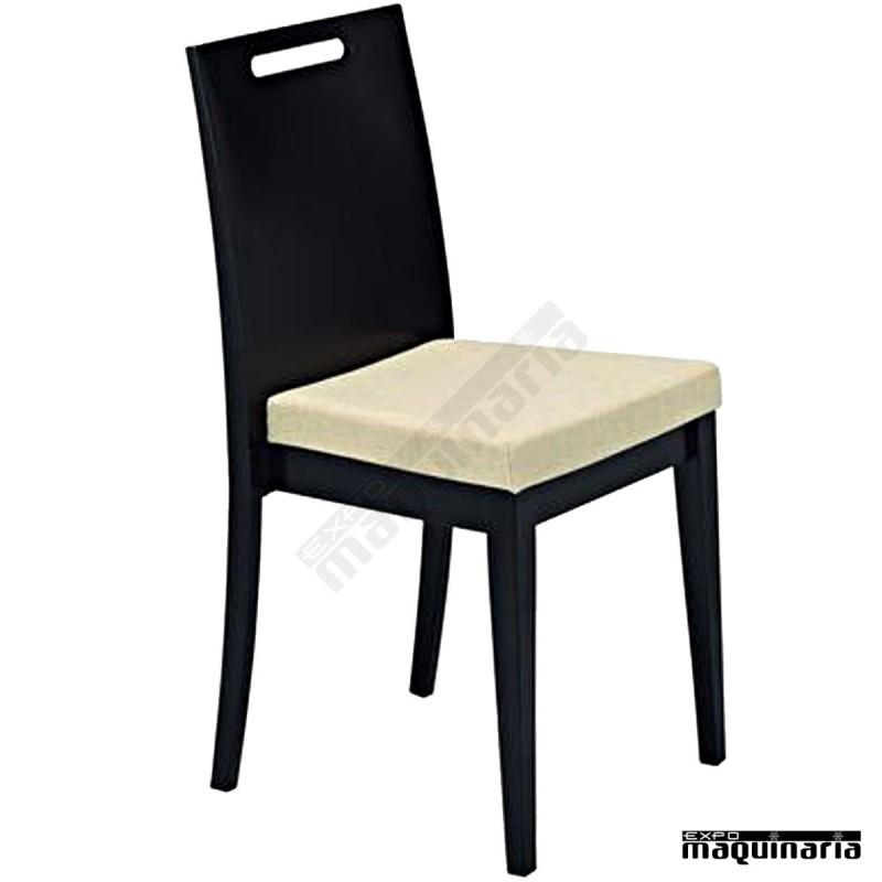Silla de madera de haya barnizada 3r6t asiento tapizado for Asientos para sillas