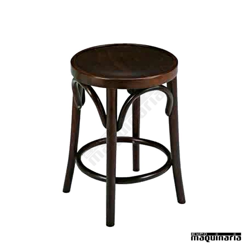 Taburete bajo de bar cafeteria pub de madera 2r6 madera for Taburete bar madera