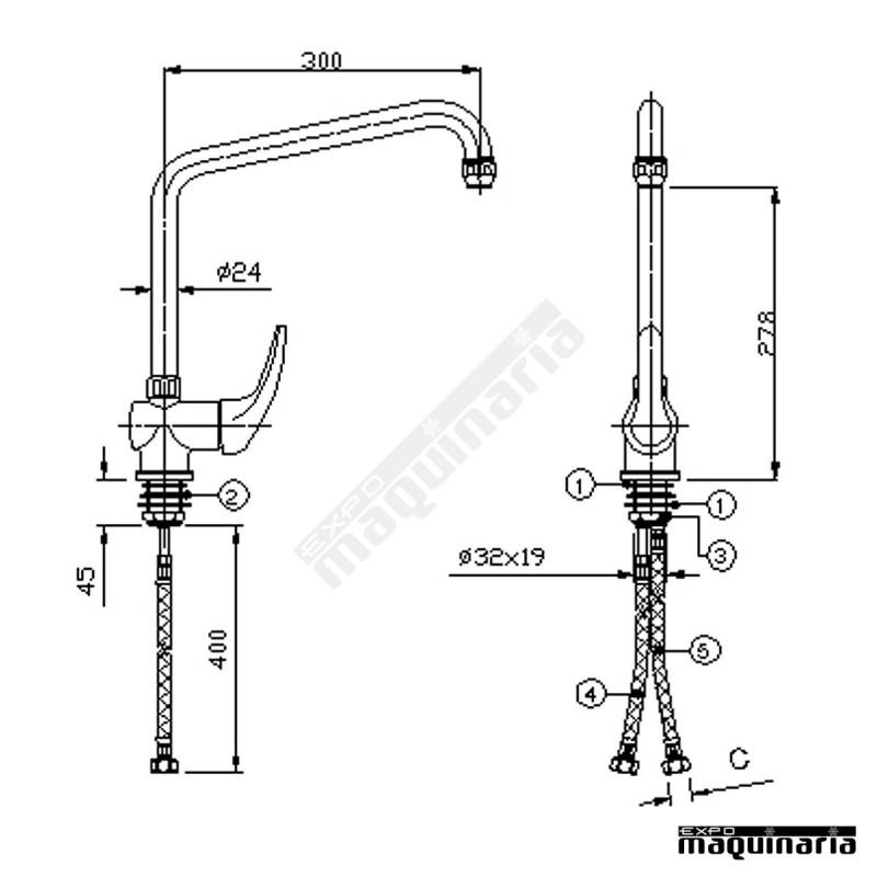 Grifo industrial 20238 dos aguas ca o alto rellenado for Grifo cocina industrial