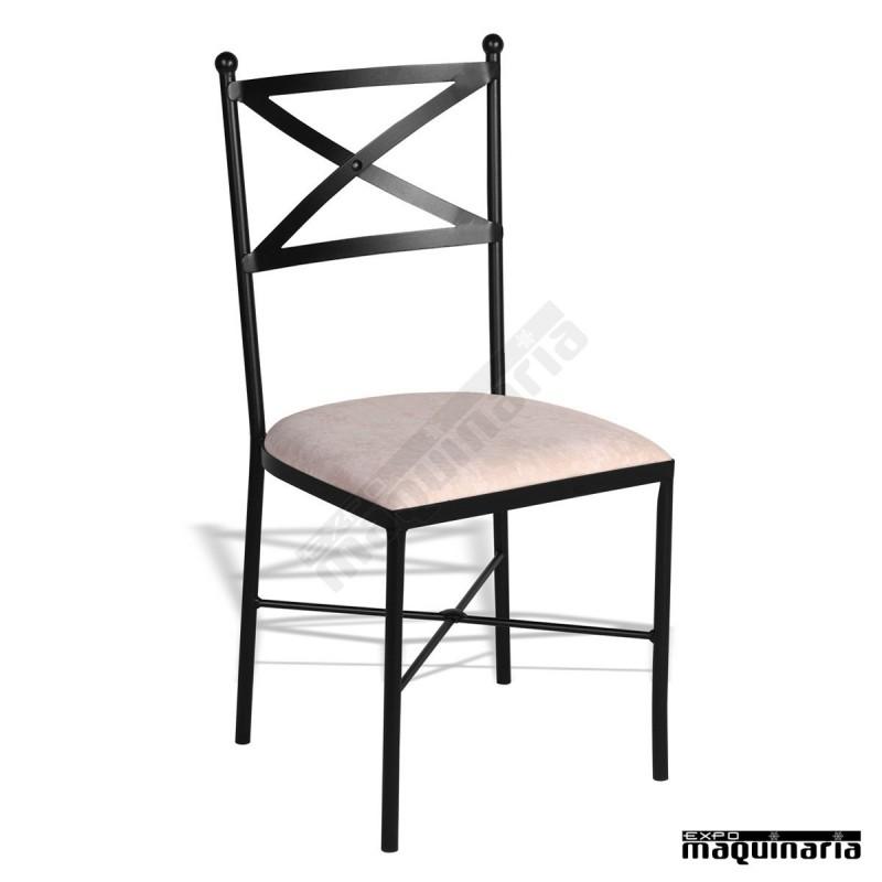 Silla de forja jas601 hosteler a con asiento tapizado - Mobiliario de forja ...