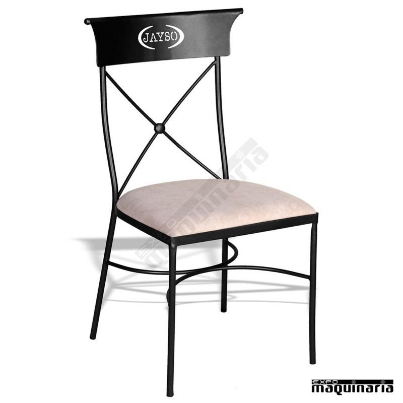 Silla forja jas605 apilable para terraza con asiento tapizado - Mobiliario de forja ...
