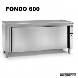 Mesa caliente central inox fondo 600