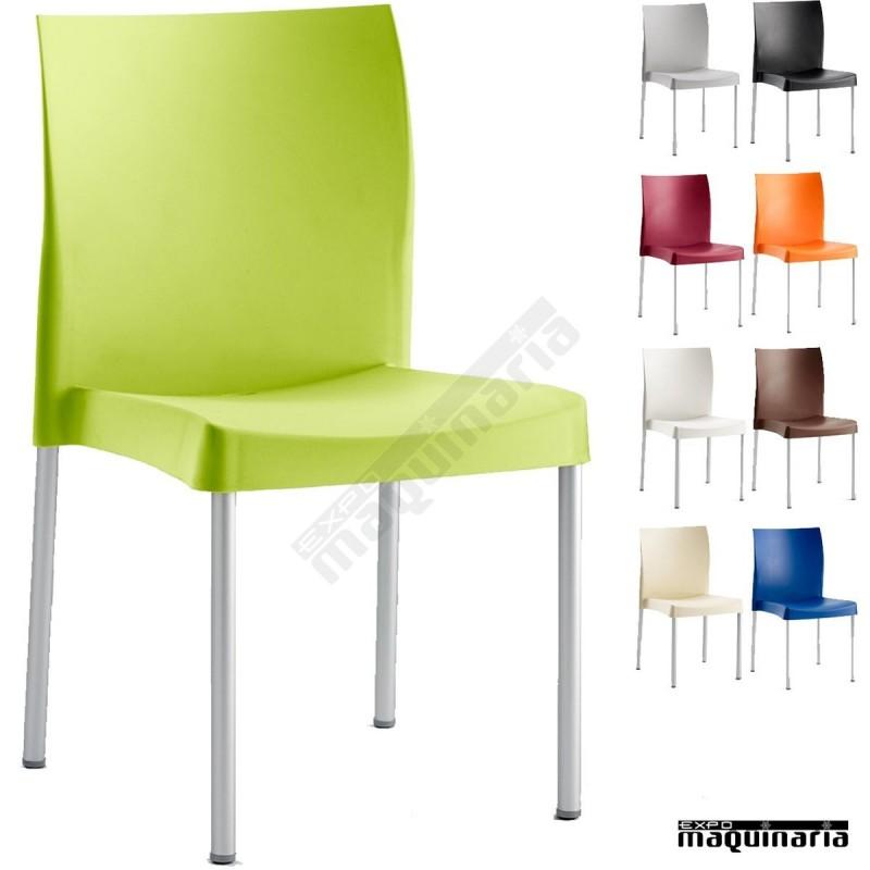 Silla aluminio terraza isduna hosteler a for Sillas plasticas comedor