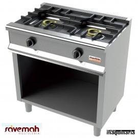 Cocina gas 2 fuegos SVCM552E con mueble inox