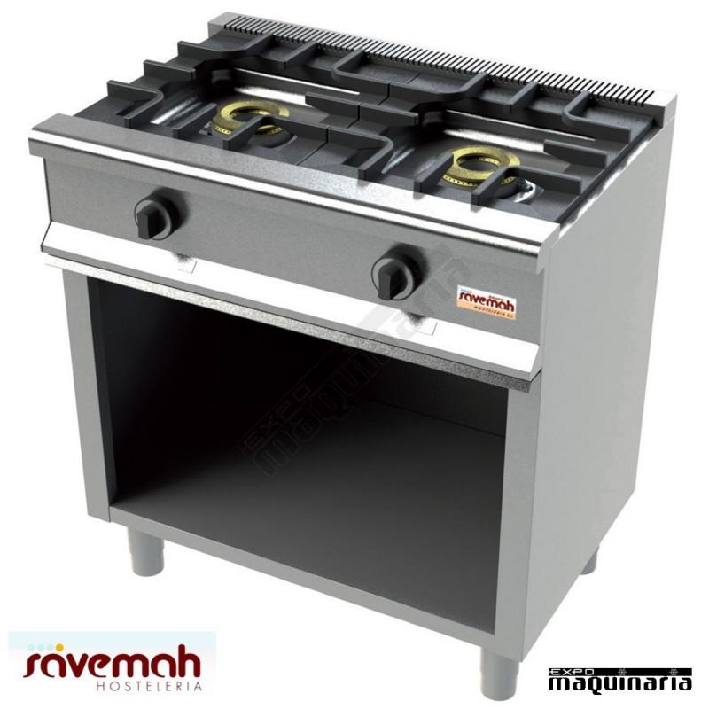 Cocina gas 2 fuegos svcm552e con mueble estructura inox for Ver cocinas industriales