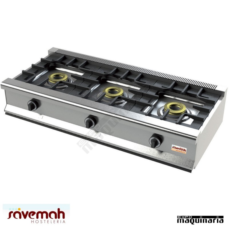 Cocina gas sobremesa 3 fuegos svcm553s estructura de acero for Ver cocinas industriales