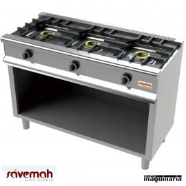 Cocina gas 3 fuegos SVCM553E con mueble inox