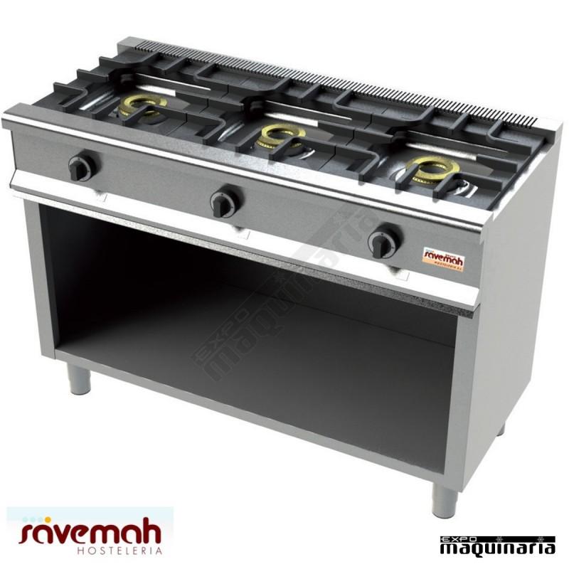 Cocina gas 3 fuegos svcm553e con mueble estructura inox - Cocina gas 3 fuegos ...