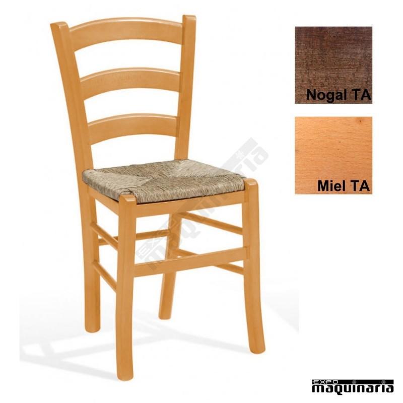 Silla de madera para restaurantes 1t214 asiento de anea for Sillas madera baratas