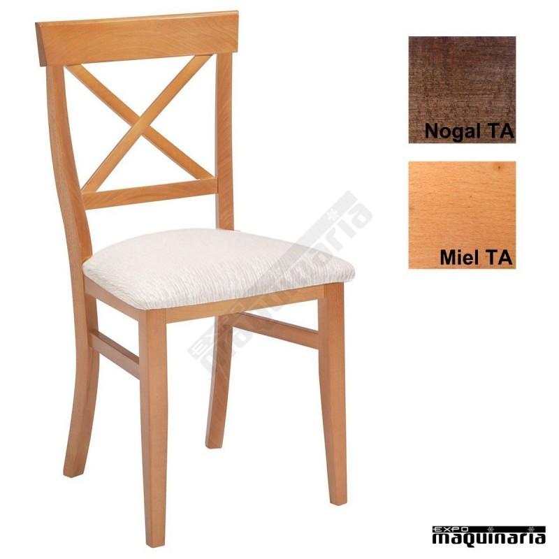 Sillas madera para bares 1t150 con asiento tapizado for Sillas de madera precios