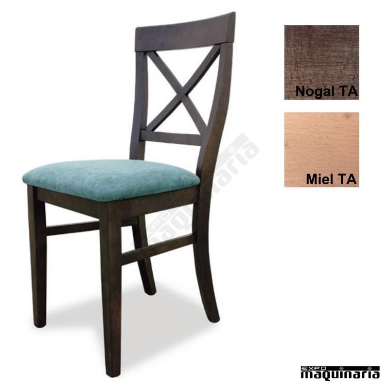 Sillas madera para bares 1t150 con asiento tapizado for Sillas comedor madera baratas