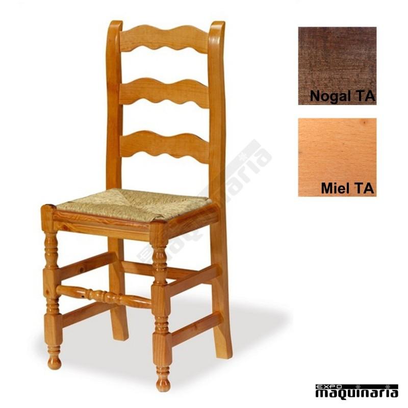 Silla madera eco 1t250 asiento de anea para bares o for Sillas madera baratas