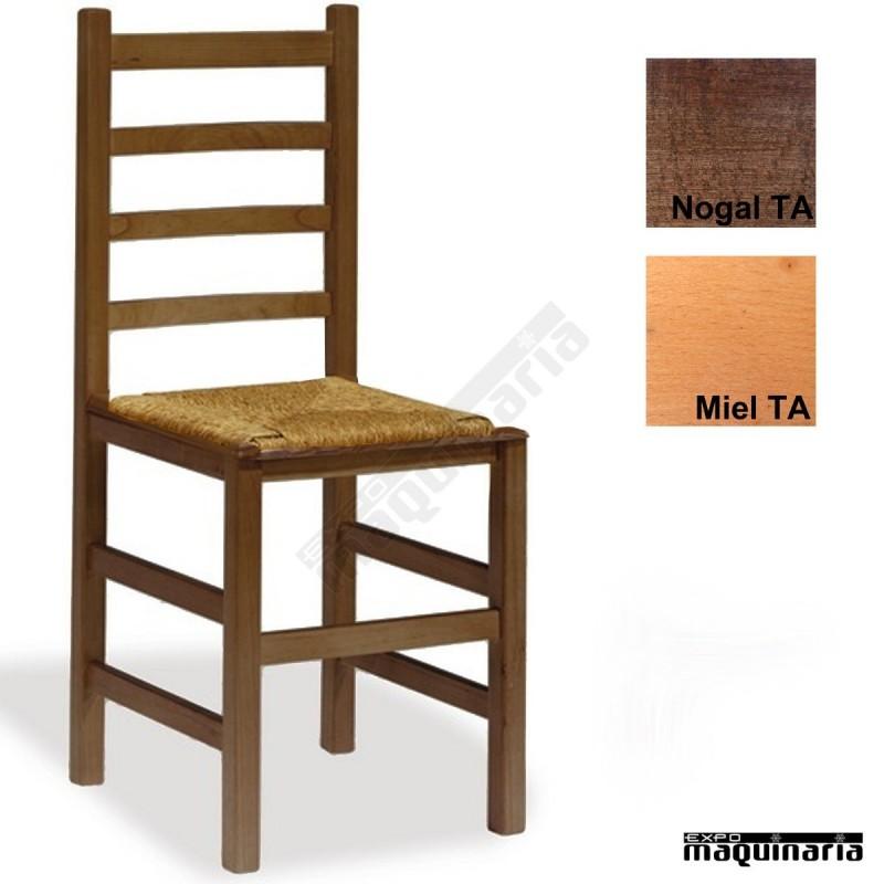 Silla cafeteria madera y anea eco 1t205 pino barnizada for Sillas madera cafeteria