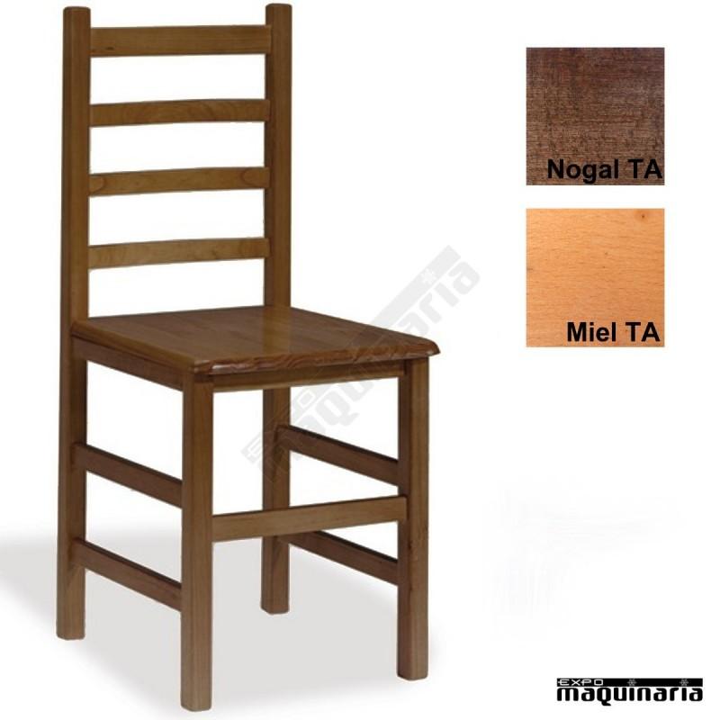 Silla madera eco 1t205 asiento madera de madera de pino for Sillas de cocina de madera baratas