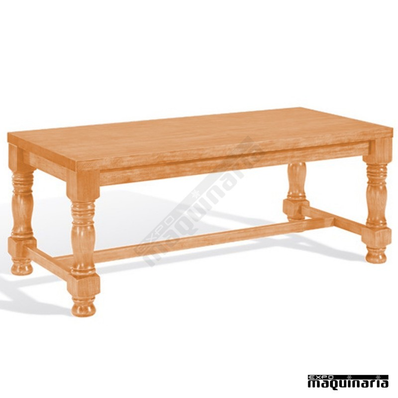 Mesa de madera 4t320m patas torneadas for Mesa para bar madera