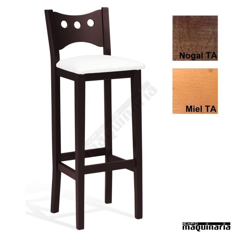 Taburete alto tapizado madera de haya barnizado talalas - Taburete para bar ...