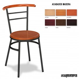 Silla Bar asiento madera 1R02MAD interior