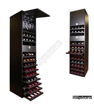 Armario para vino neutro MERLOT para 44 botellas y 16 copas