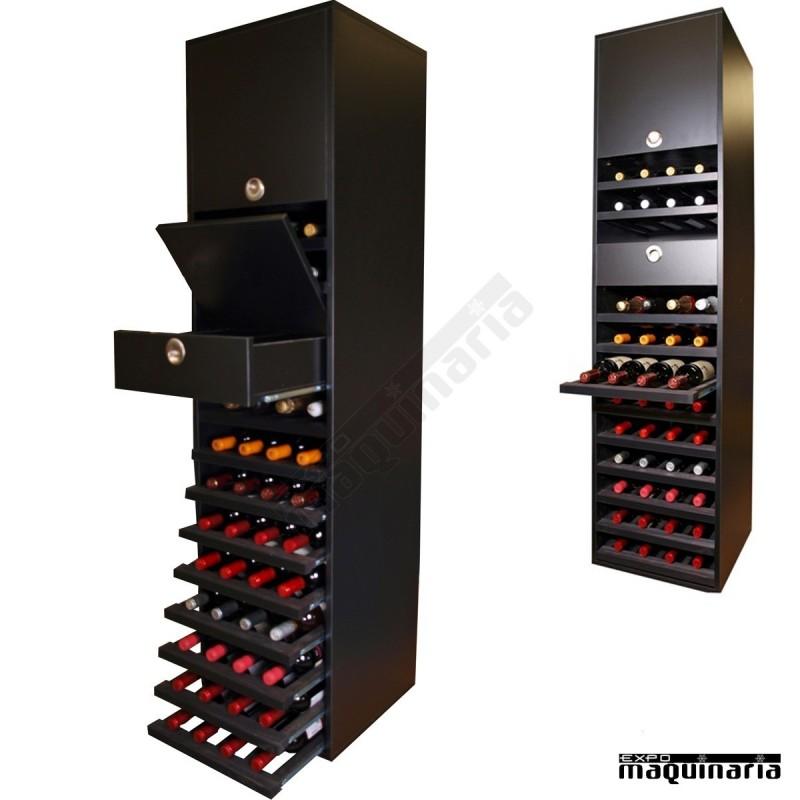 Armario botellero para copas y botellas merlot 44 botellas for Mueble para botellas