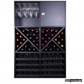 Armario vino neutro EXMERLOT Super 16 copas y 72 botellas