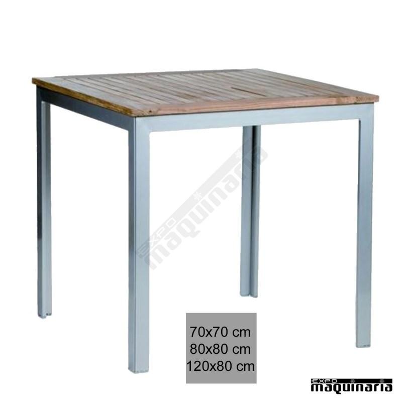 mesa terraza 4r12te aluminio apilable aluminio plastificado