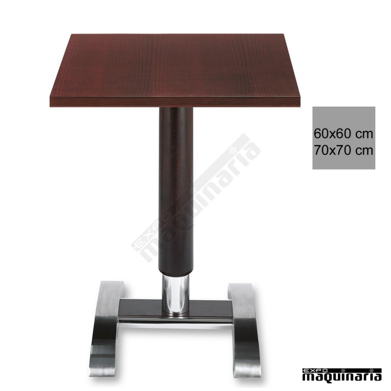 Mesa bar 3r78ha columna de madera for Mesas de madera para bar