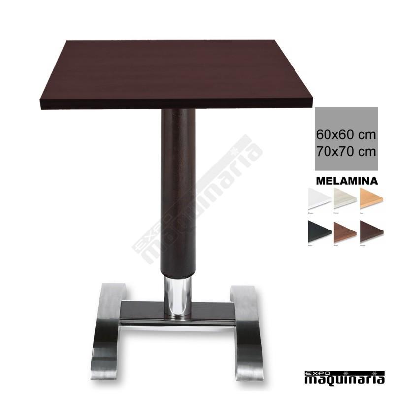 Mesa bar 3r78me hosteler a columna de madera for Mesa carro bar madera